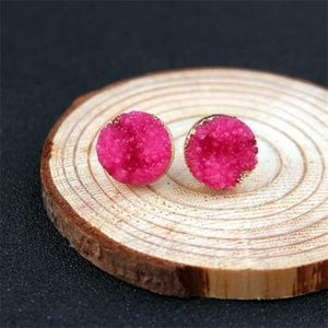 Pink Druzy Stone Natural Stone Crystal Earrings